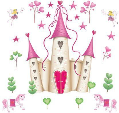 Prinzessin schloss schöne rosa cartoon prinzessin Wand aufkleber Kinder der mädchen schlafzimmer Der kindergarten Hintergrund dekoration