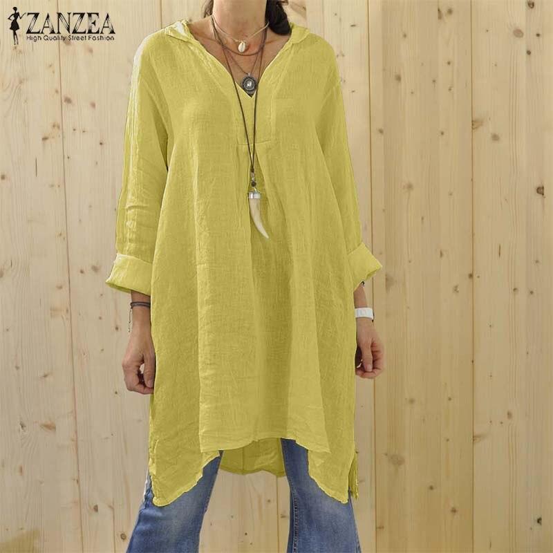 ZANZEA-Blusa asimétrica de talla grande, para otoño, 2020, Estilo Vintage, escote en V, manga larga, para mujer