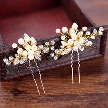 Женские заколки для волос ручной работы золотого цвета с искусственным жемчугом, свадебные аксессуары для волос, украшения для волос