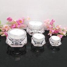 100pcs high-grade diamond white color 15g 20g plastic cosmetic jars for sale ,