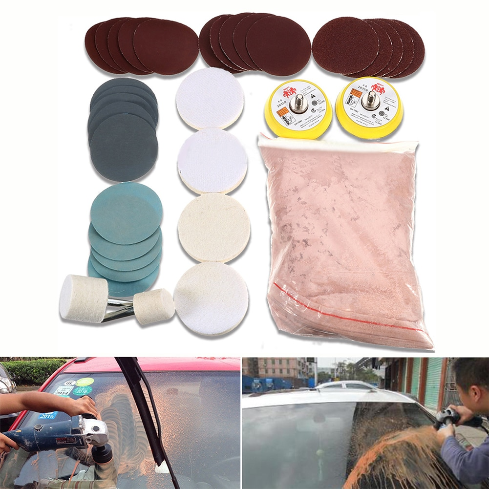 34Pcs/Set Repair Grinding Portable Glass Polishing Kit Universal Car Windscreen Multifunctional Deep Scratch Remover Mirrors
