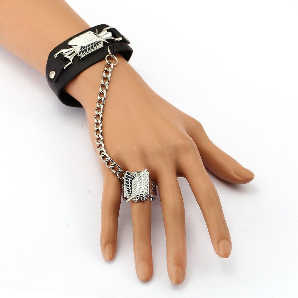 MS Jewelry Attack on Titan Leather Bracelet Free of Wing Link Charm Bracelets Anime Cosplay Punk Bangle Men Women