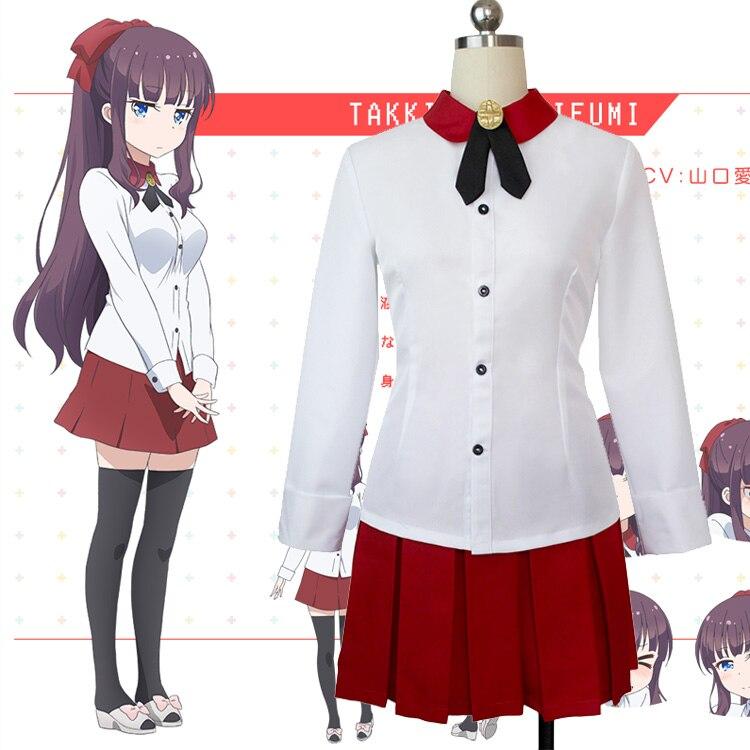 ¡Nuevo juego! Takkimoto Hifumi Cosplay disfraz Halloween uniforme traje Camisa + falda + corbata hecho a medida