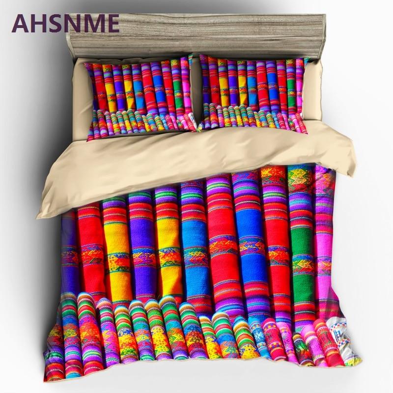 Conjunto de ropa de cama AHSNME con diseño de tela de colores, funda de edredón Bohemia, Textiles para el hogar con impresión de alta definición, se adapta a tamaño multi-país EU