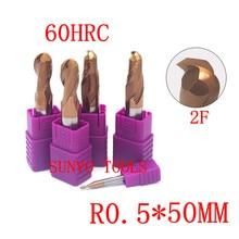 5 unids/set 2 flautas R0.5x50mm 1MM HRC60 2 flautas carburo de tungsteno punta de bola fresa CNC fresa calidad perfecta