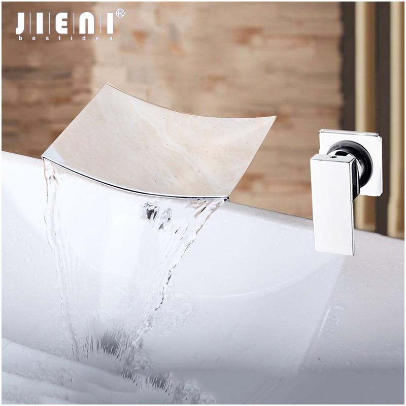 JIENI حوض شلال الحائط مصقول الكروم دش حوض للحمام بالوعة الصلبة النحاس خلاط صنبور صنبور