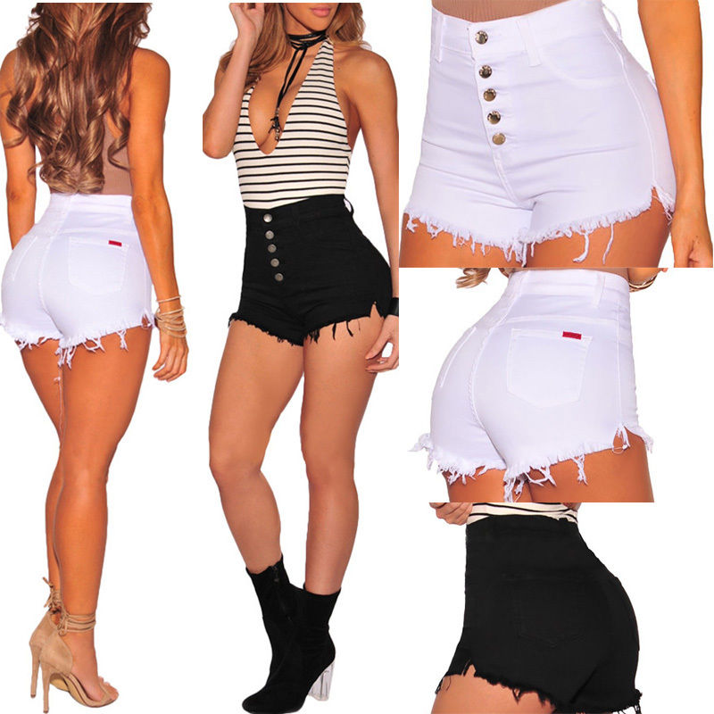 Women Girls Ladies Shorts Casual High Waisted Short Mini Jeans Ripped Jeans Shorts Women Summer