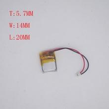 3.7v Lithium battery 571420/601520 mini bluetooth headset bracelet Rechargeable battery 100mAh