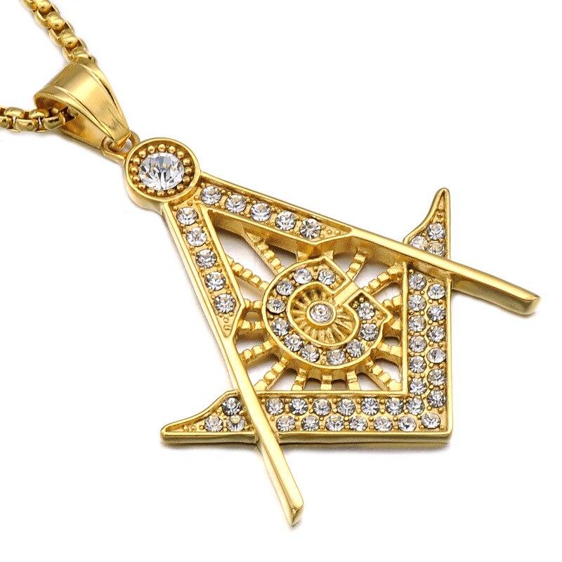 Collares de signo masónico de acero inoxidable para hombres, colgante de diamantes de imitación Micro pavimentado, cadenas de titanio de oro y plata, joyería de Hip Hop para mujeres