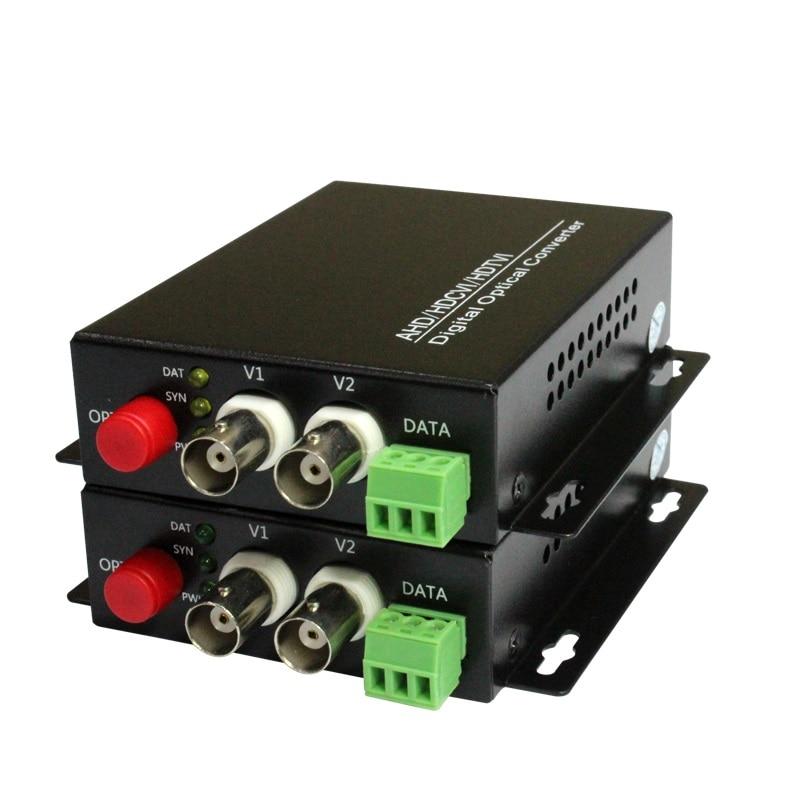 Alta calidad HD CVI 2 canales de fibra de vídeo convertidores ópticos + RS485 transmisor receptor-para 720P 960P AHD CVI HD cámaras CCTV