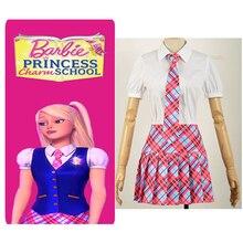 Free Postage Princess Charm School Princess Sophia Cosplay Costume Pleated Plaid Skirt Stocking Academy Unifrom Girl Dress Tie