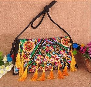 Online Sales women bags Folk handmade tassel crossbody bags Vintage canvas embroidery shoulder Travel bags