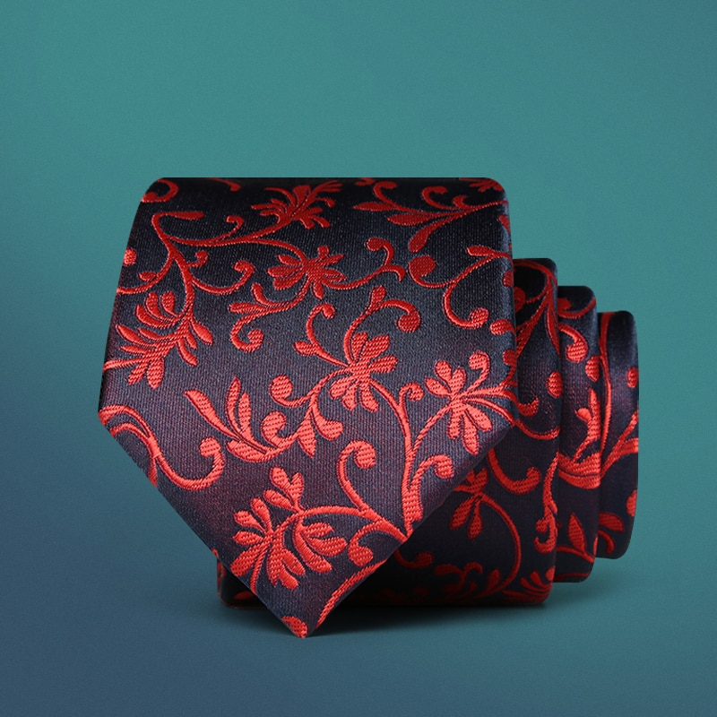 Gran calidad 2018 venta Formal comercial boda floral rojo matrimonio masculino para hombres negocios clásico hombre Corbata con caja de regalo