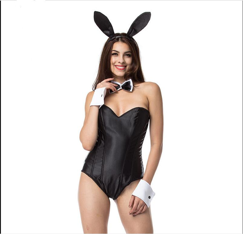 Lencería de conejita negra de satén y malla deshuesada, disfraz Sexy de conejita, disfraz de sirvienta, disfraz de Halloween para mujeres y adultos