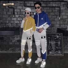 Tsingyi Fashion Reflective Striped Hooded Shirts+Ankle-length pants 2pcs Sets Tracksuit Men Women Zipper Streetwear Reflect Sets