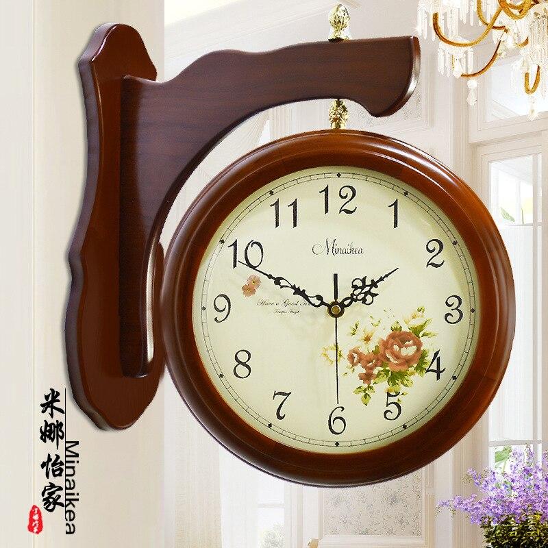 Meijswxj Saat Double-sided Wall Clock Reloj Wood Digital Clock Relogio de parede Duvar Saati Horloge Murale Mute watch clocks