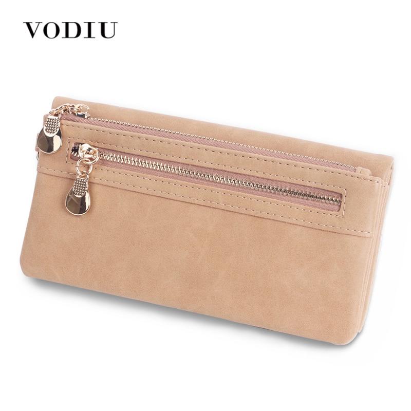 Женский кожаный кошелек на двойной молнии, женский клатч, кошелек на ремешке, держатель для монет, кредитных карт, сумки, Trifold Slim Cuzdan
