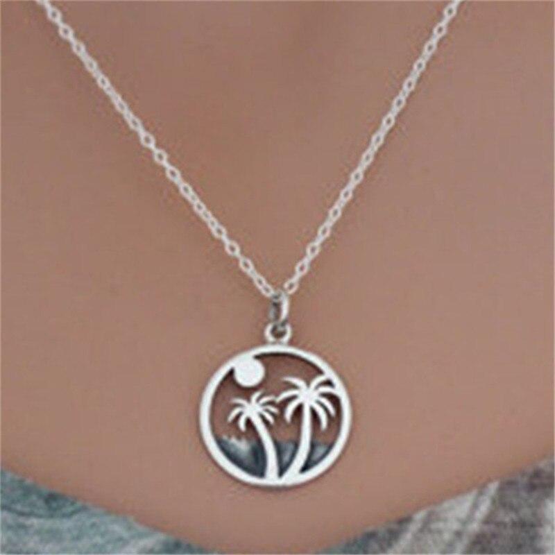Новое поступление серебряный цвет солнце Пальма Круглый Шарм кулон ожерелье для женщин пляжные ювелирные изделия подарок