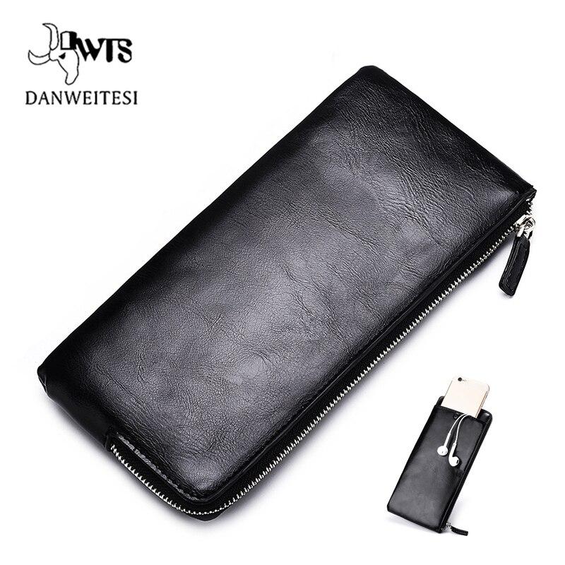 DWTS мужские кошельки с отделением для карт кожаный мужской кошелек роскошный длинный дизайн качественная Обложка для паспорта Модный повседневный мужской кошелек на молнии