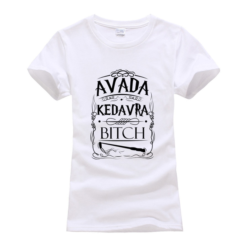 Camiseta feminina de impressão engraçada 2019 algodão moda harajuku algodão camisa femme avada kedavra marca camisetas punk topos