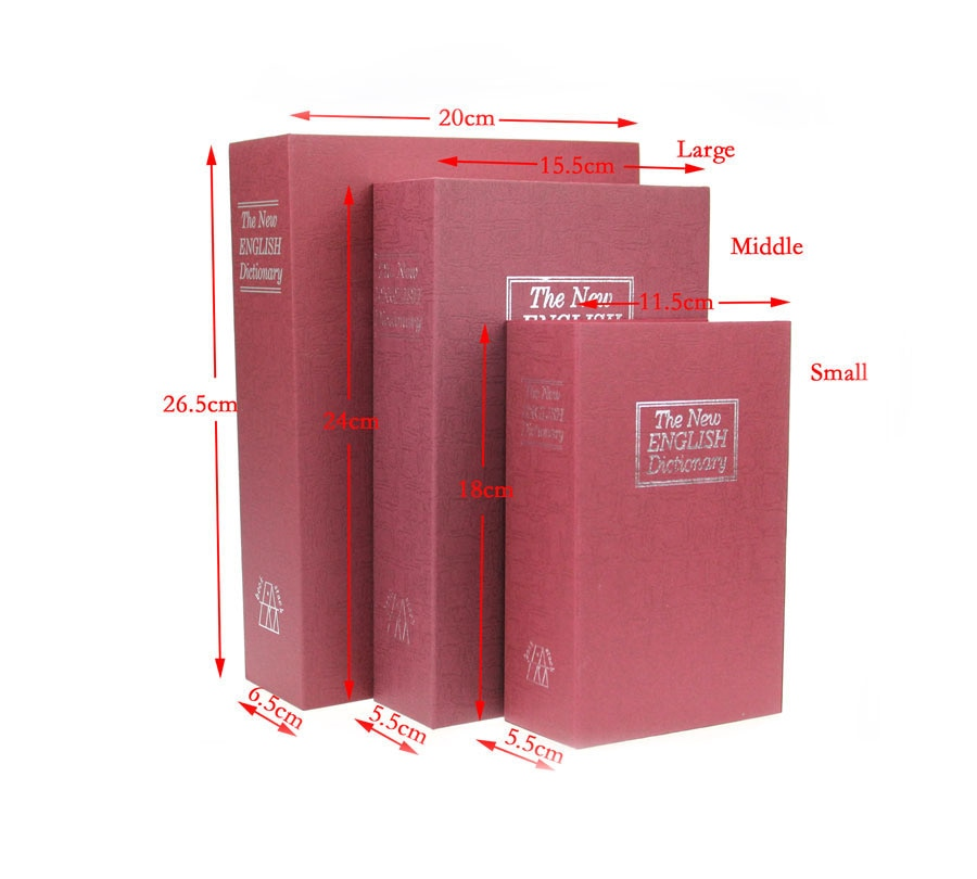 Dictionary Secret Book Piggy Bank Safes Simulation Money Jewelry Insurance Storage Boxes with Key Lock  240*155*55mm size m 4 color combination lock hidden box security lock key english dictionary lock strongbox steel simulation 240 155 55mm