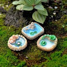 DIY 3Pcs Pool Miniature Landscape Ornament Garden Bonsai Dollhouse Decor Resin Craft