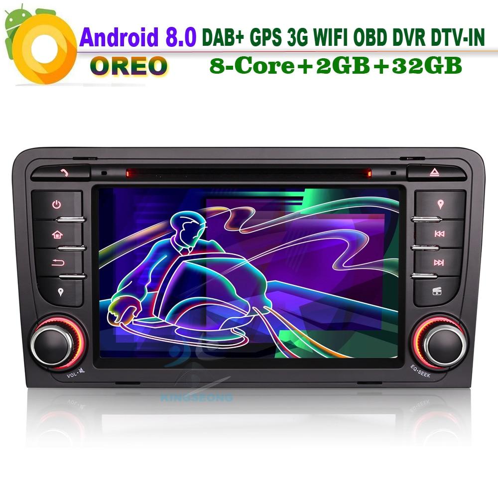 "7 ""Android 8,0 CD Autoradio coche reproductor Multimedia WiFi radio RDS GPS BT DVD sentado Navi para AUDI A3 S3 RS3 RNSE-PU DAB + 3G OBD DTV"