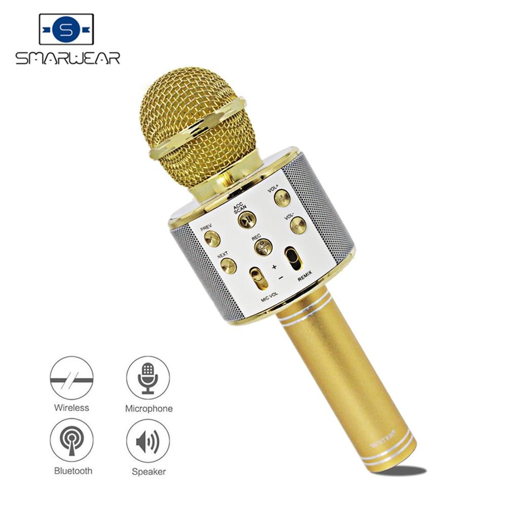 Stock en España WSTER WS-858 MICRÓFONO INALÁMBRICO Bluetooth para Karaoke, altavoz de mano, Mini teléfono para el hogar, máquina de Karaoke, entrega rápida