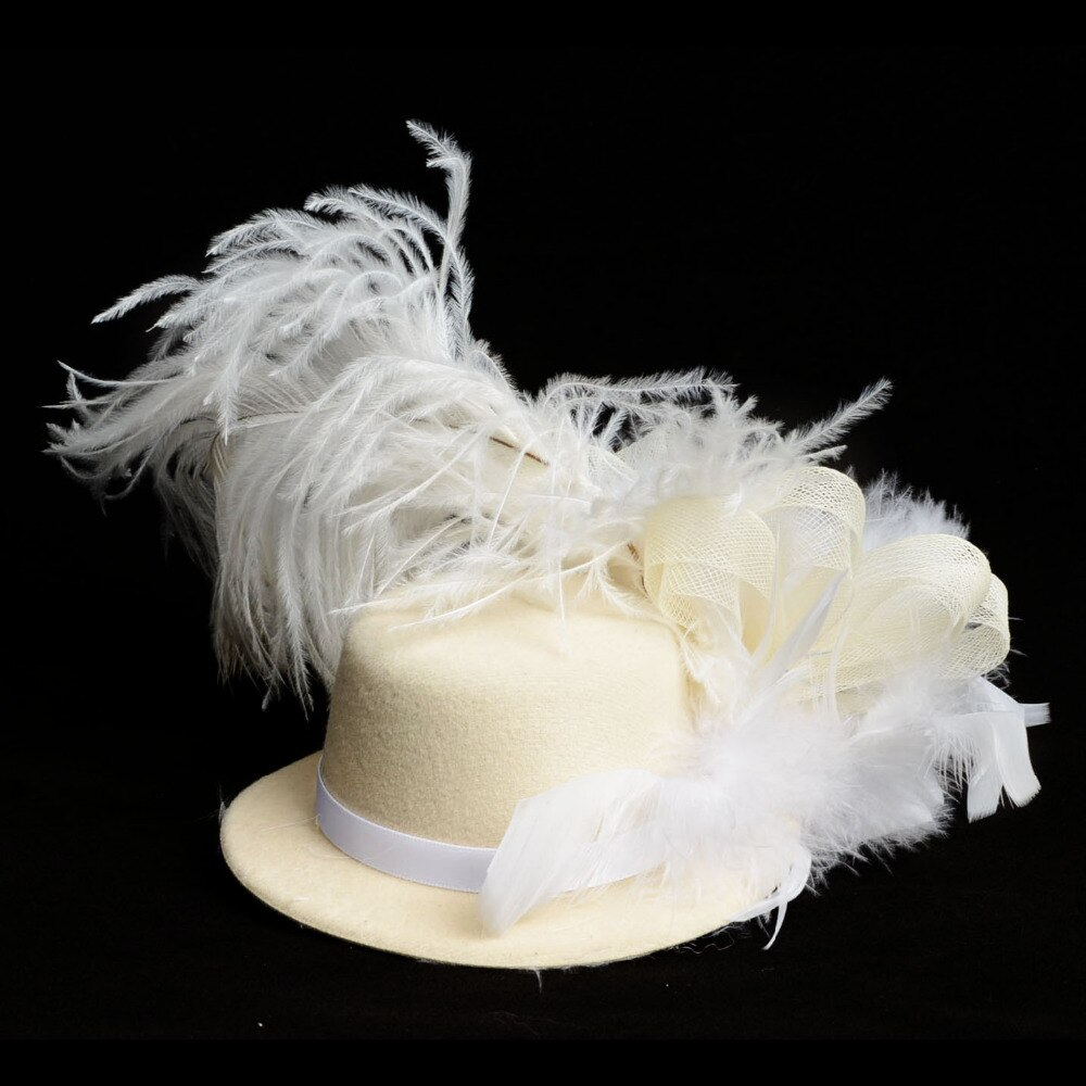 Novo Sólido Creme Feather Mini Top Hat Organza Malha Grampo de Cabelo Fascinator Noivas Festa de Casamento Nupcial Acessórios de Cabelo para as mulheres