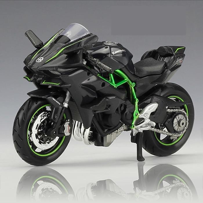 KAWASAKI NINJA juguete de motocicleta 1:18 H2 fundición de aleación de juguete modelo de Ninja negro H2R moto desmontable colección