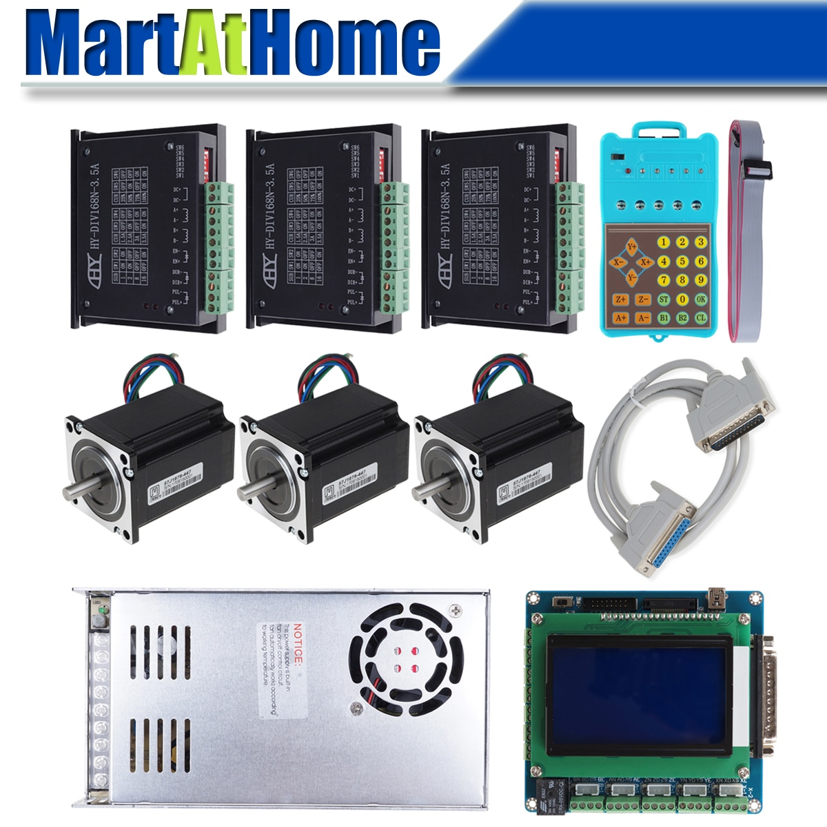 Kit de controlador de Motor paso a paso DMBCP003 CNC 3 ejes/4 ejes 3.5A con soporte de controlador MPG Mach3, LinuxCNC, KCAM4 para enrutador CNC DIY