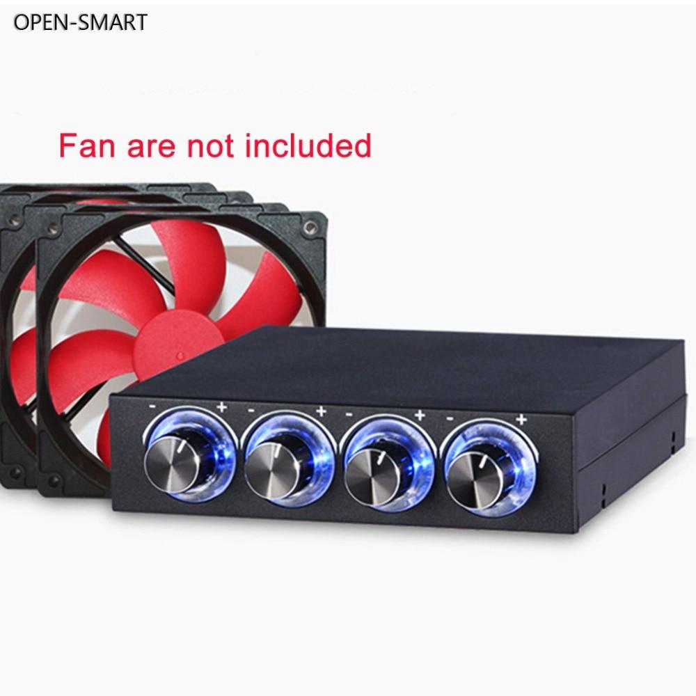 Открытая умная система охлаждения 3,5-дюймовый ПК HDD 4-канальный с регулятором скорости вентилятора синий/красный светодиодный контроллер Передняя панель для компьютерных вентиляторов
