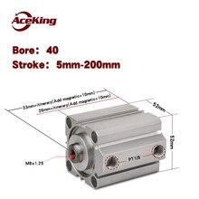 Componentes neumáticos de presión magnética, varilla de empuje de pistón de cilindro Delgado SDA 360-SB SDA40x50