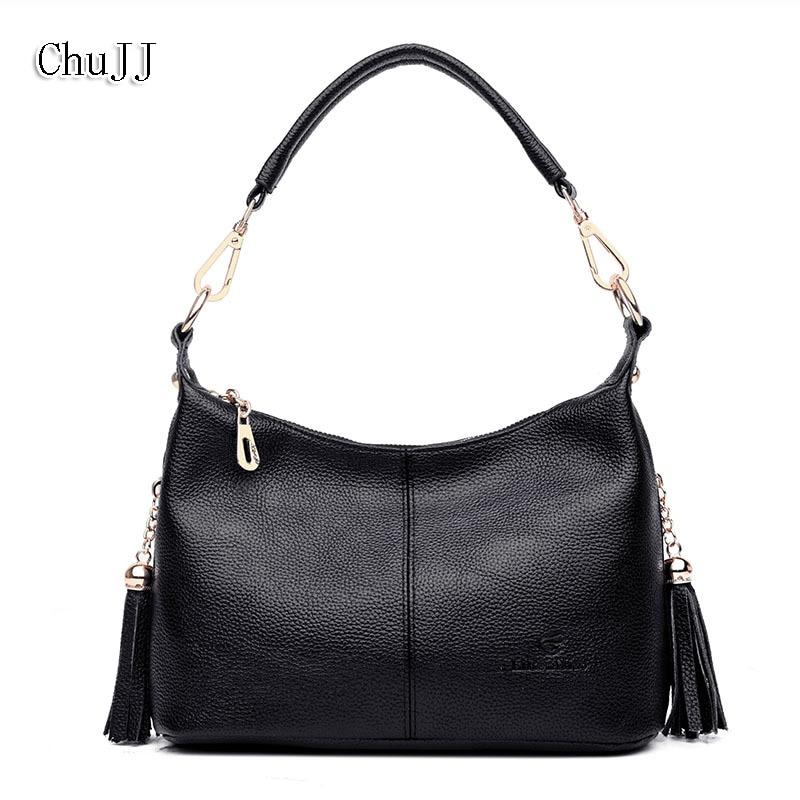 Chu JJ, bolsos de cuero genuino para mujer, tipo bandolera bolso de hombro con borla de cuero de vaca, bolsos de mensajero para mujer, Bolsos De Mujer