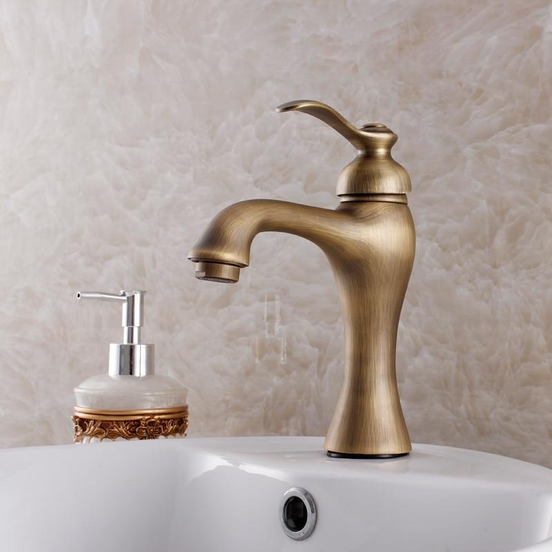 Torneira-grifo Retro antiguo de latón, lavabo de cobre caliente y frío, un...