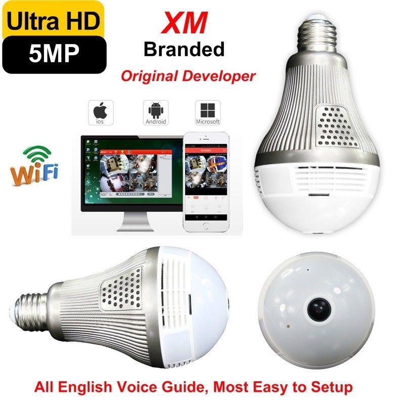 5MP/3MP/2MP/1.3MP Ultra Clear 360 Fisheye Panorâmica Câmera Wi-fi Móvel LEVOU Lâmpada