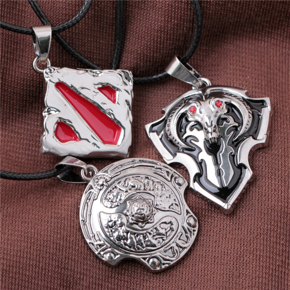 Nueva joyería de moda al por mayor 12 unids/lote Dota 2 Logo colgante collar regalos de abanico