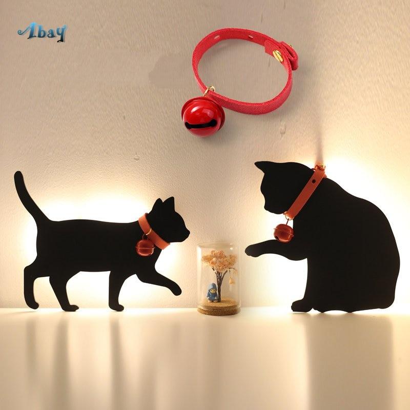 مصباح LED للقطط والكلاب ، صورة ظلية ، ميكي بيكاتشو ، مصباح حائط لخزانة الملابس ، غرفة نوم الأطفال ، الممر ، الخزانة