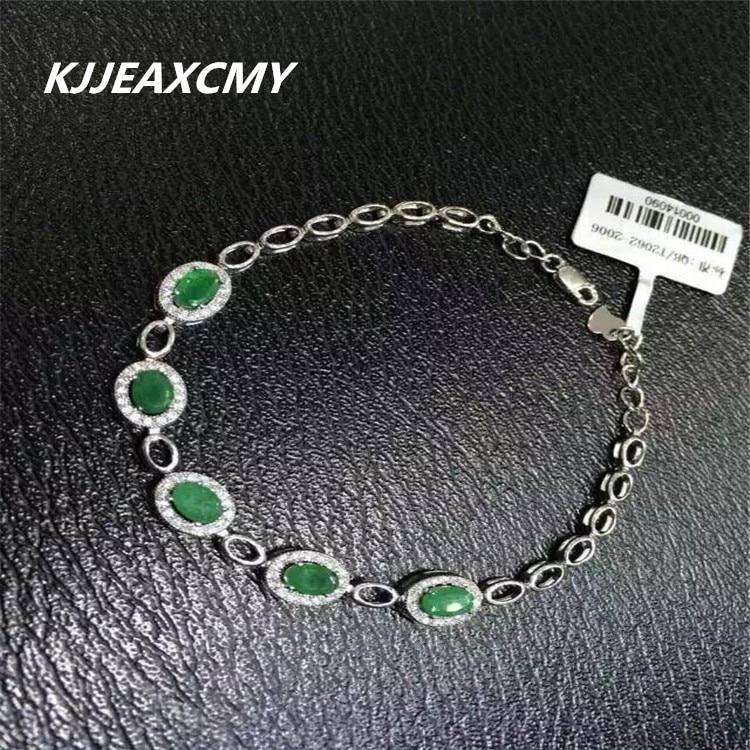KJJEAXCMY Fine jewelry Natural emerald female Bracelet inlay jewelry S925 Sterling Silver