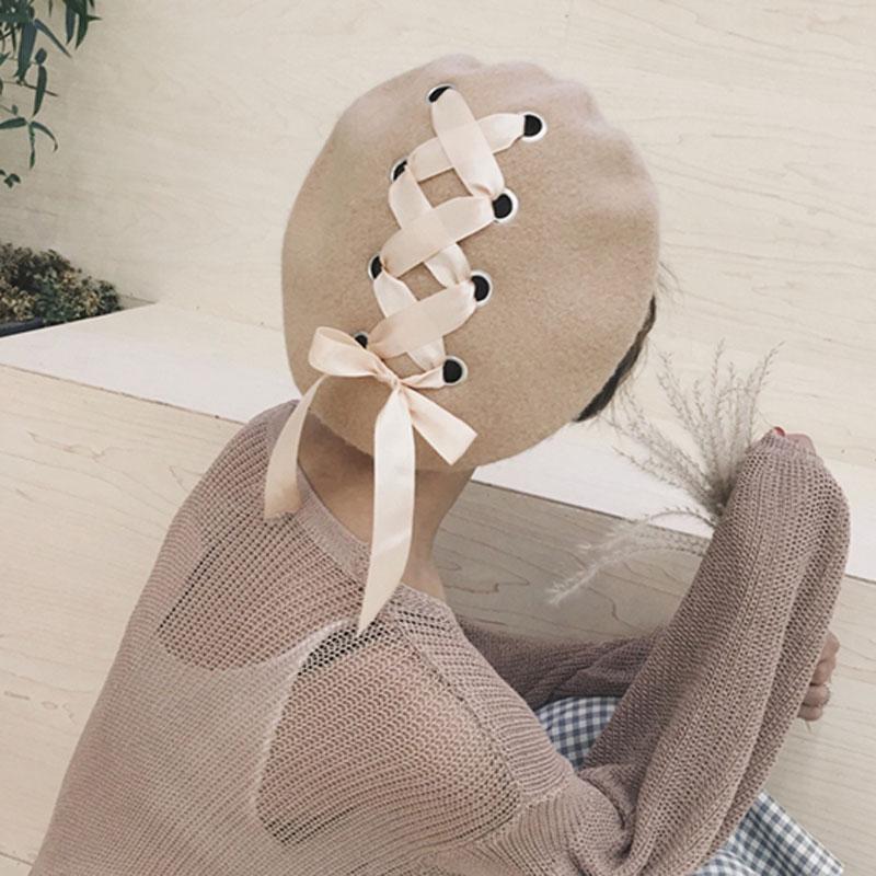 MAXSITI U-قبعة شتوية من الصوف الخالص للنساء ، قبعة دافئة بتصميم ربطة عنق ، فنانين عتيق