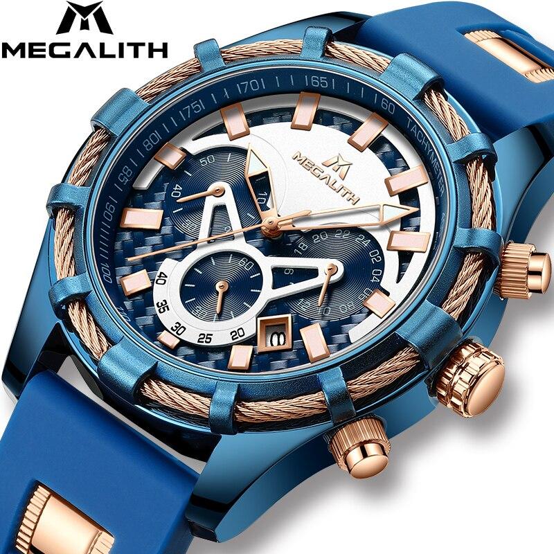 Relojes MEGALITH para hombre, relojes luminosos de lujo de la mejor marca, relojes impermeables, cronógrafo deportivo, reloj de pulsera de cuarzo, reloj Masculino