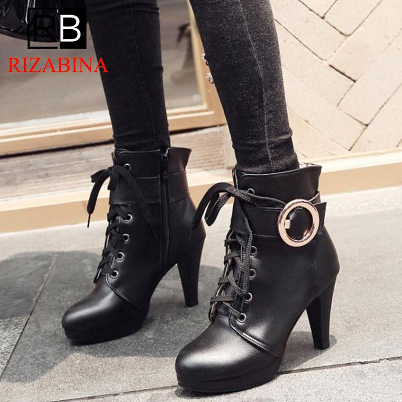 Rizzina para mujer tamaño grande 31-46 Sexy añadir zapatos de plataforma de piel mujer Botines de fiesta Sexy tacones altos mujer Botines