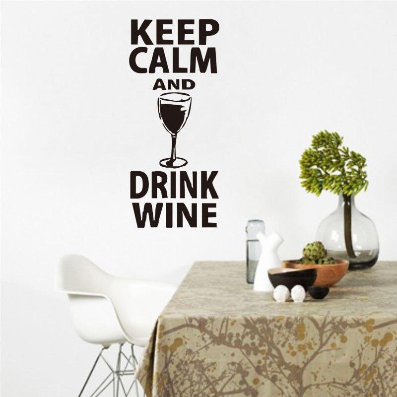 Съемная Наклейка на стену, сохраняющая спокойствие и напитки, цитата вина, наклейка на стену, стеклянная наклейка, домашний декор, наклейка ...