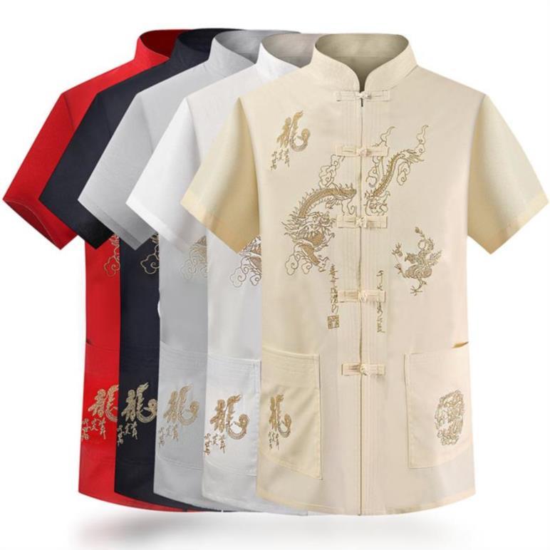 قميص رجالي مطرز بأزرار على الطراز الصيني ، قميص حريري غير رسمي بأكمام قصيرة ، ياقة عالية ، عصري