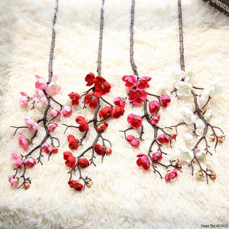 7 pçs/lote Ameixa flores de cerejeira flores de Seda Artificial da haste de plástico árvore de Sakura ramo de Decoração de mesa para Casa Decoração de Casamento Guirlanda
