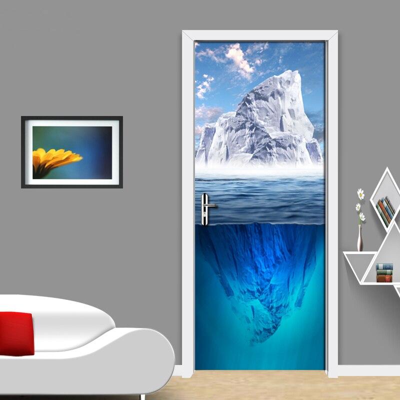 Mural impermeable de PVC con diseño de cielo azul nubes blancas montaña Nevada paisaje natural papel pintado con foto 3D sala de estar Puerta del dormitorio