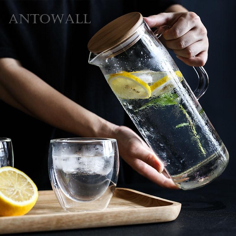 Tetera de té con aroma a olla de agua potable de cuerpo recto de alta temperatura de antocall olla gran capacidad con tapa de madera