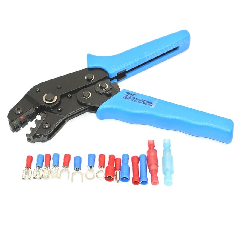 Terminales aislados de prensado y trasero conectores herramienta alicates Crimper para 0,25-2,5mm cuadrados AWG24-14 SN-02C