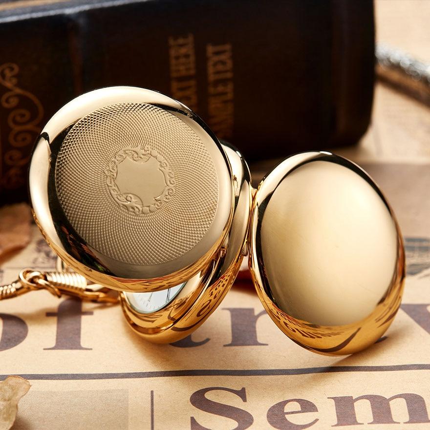 Luxury Gold Mechanical Pocket Watch Men Women Clock Skeleton Gear Dial Flip Golden Color Double Case Copper FOB Chain Watches