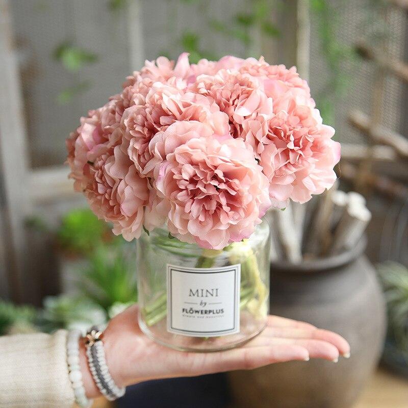 מלאכותי פרחי משי אדמונית עבור בית חתונת קישוט 5 ראשי הידראנגאה זר קטן סתיו דקור מזויף פרחים
